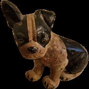 Vintage Cast Iron Boston Terrier Dog Doorstop Original Paint