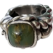 Gorgeous Dian Malouf Sterling Silver Chunky Green Agate Ring