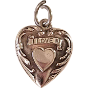 """Sweet Vintage Sterling Silver Puffy Heart Charm,""""I Love You"""""""