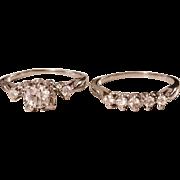 Vintage Art Deco 14k White Gold Wedding Ring Set