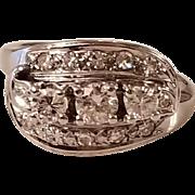 Stunning Art Deco Vintage 14k White Gold Diamond Ring