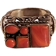 Large Vintage Ornate Sterling Silver & Orange Spiny Oyster Southwestern Style Ring