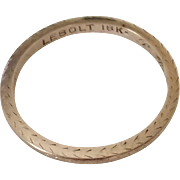 Vintage 18k White Gold Etched Band Ring by LeBolt dated 1928