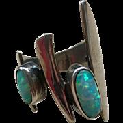 Vintage Sterling Silver Modernist Opal Ring sz 6.5 by  Navajo Silversmith Christin Wolf