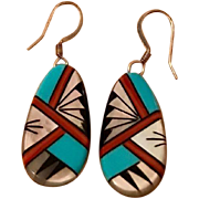Vintage Zuni Inlaid Turquoise, Coral & Mother of Pearl Sterling Silver Native American Earrings