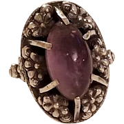 Vintage unusual Amethyst Cabochon and Silver Repousse Ring