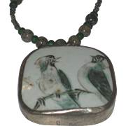 Beautiful Vintage Beaded Necklace with Chinese Pottery Shard Pendant Hand Painted Birds