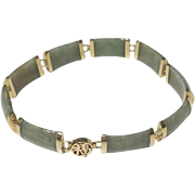 Vintage Estate 14k Yellow Gold Jade Link Bracelet Chinese Character Clasp 7.5""