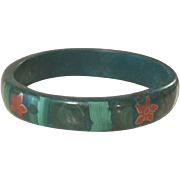 Beautiful Vintage Wide Solid Malachite Bangle Bracelet Inlaid Flowers