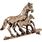 Vintage Mare and Colt Sterling Silver Horse Brooch Pin Pendant