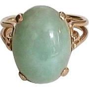 Beautiful Vintage 18k Yellow Gold and Jade Ring