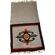 Vintage Native American Southwestern Woven Table Runner Hand Knotted Fringe