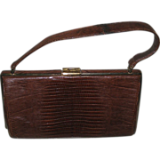Vintage Dietch Authentic Designer Brown Alligator Large Top Handle Handbag Purse - Red Tag Sale Item