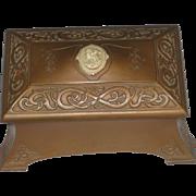 Vintage Benedict Studios Athenic Bronze Revival Trinket Casket Box with Cameo