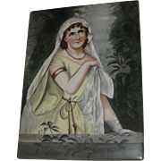 Superb Antique Hand Painted Lady Large Portrait Plaque on Tile Italy