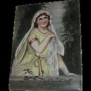 Superb Antique Hand Painted Lady Large Portrait Plaque on Tile Italy