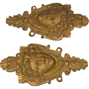 Pair of Vintage Cast Brass Lady Face Cartouche Architectural Embellishments