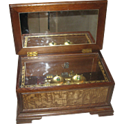Vintage Linden Music Box with 4 BELLS Plays Beautifully!