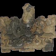 Beautiful  & Intricate Vintage Foo Dog Carved Soapstone Incense Burner