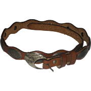 Last Two Weeks! Vintage Native American Navajo Leather & Sterling Silver Concho Belt Signed PTG