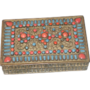 Early Tibetan Turquoise and Coral Mounted Hinged Brass Dresser Box