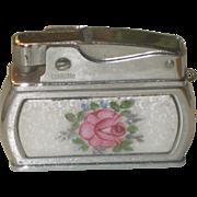 Vintage Ladies Guilloche Enamel Lighter with Pink Rose by Wiesner