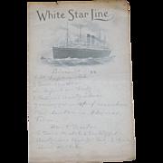 Vintage White Star Line Ocean Liner Hand Written Menu