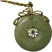 Vintage Chinese Jade Disc Pendant with 14k gold chain Necklace