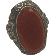 Vintage Sterling Silver & Faceted Edge Carnelian Ring Flower Setting