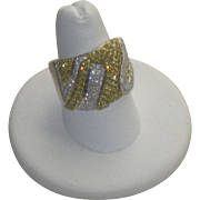 Magnificent 18k White Gold and Canary Yellow Diamond Pave' Ring