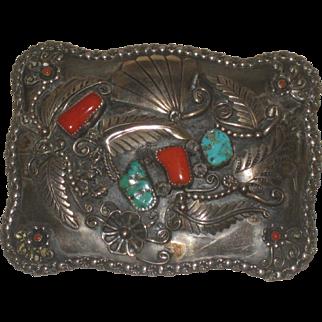 Men's Vintage Large Navajo Turquoise Coral Belt Buckle Wes Craig Sterling Silver