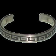 Vintage Greek Key design Sterling Silver Bangle Mexico Taxco