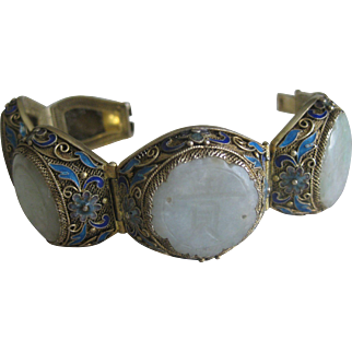 Impressive Chinese Import Silver Carved Jade and Enamel Bracelet
