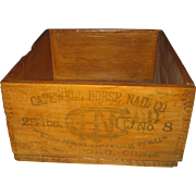Antique Wooden Jointed Box Crate Capewell Horse Shoe Farrier Nails Hartford Conn