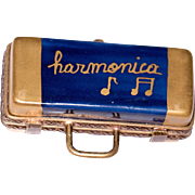 Miniature Limoges Box – Playing the Blues on a Harmonica