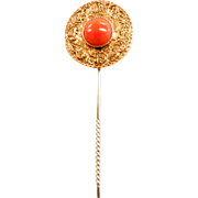 Lovely Victorian 14k Coral Stickpin