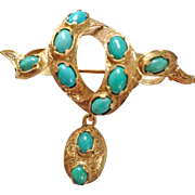 Antique Gold Victorian Turquoise Brooch with Drop and Memory Locket
