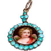 Victorian Angel Portrait Pendant Locket Surrounded by Turquoise