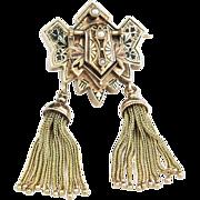 Very Fine 14k  Gold Victorian Enameled Tassel Brooch