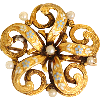 Very Lovely 14k Victorian Enamel and Seed Pearl Brooch