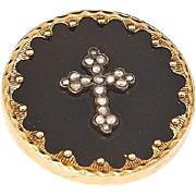 Outstanding Victorian Gold, Pearl and Black Onyx Mourning Brooch