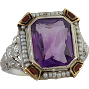 Exquisite 18k White Gold Art Deco Enamel and Seed Pearl Amethyst Ring