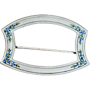 Lovely Sterling Victorian Sash Pin with Charming Blue Forge-me-nots