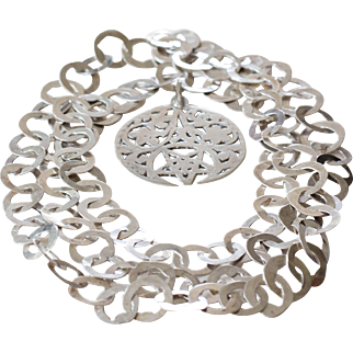 Most Unusual Sterling Silver Belt with Jewish Star Medallion