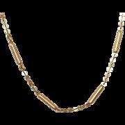 Vintage 14k Brushed Gold Barrel Link Chain