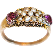 Beautiful Antique 15K Amethyst and Seed Pearl Closed Back Ring