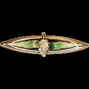 Tiny But Exquisite 14k Art Nouveau Enamel Pin