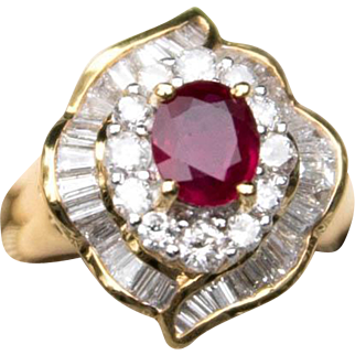 Outstanding Vintage Ruby and Diamond Cocktail Ring 18K