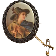 Antique Whitby Jet Large Portrait Brooch Tyrolean or Vagabond Boy
