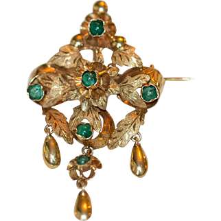 Wonderful Georgian 14k Emerald Brooch